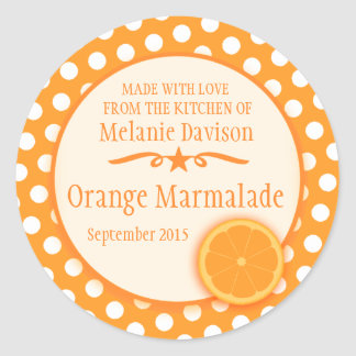 Round orange marmalade preserve gift stickers