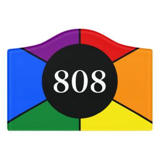 Round Rays Frame Rainbow 2 + your backgr. & ideas Door Sign
