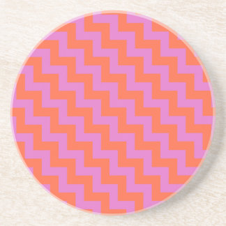 Round Sandstone Coaster, Magenta, Orange Chevrons Coaster
