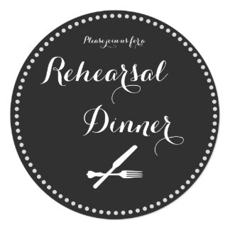 Round Silverware Rehearsal Dinner Invitations