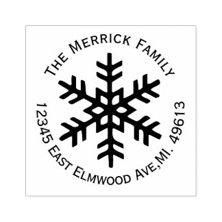 Round Snowflake Return Address Rubber Stamp