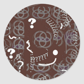 Round Sticker with Brown Abstract