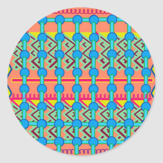 Round Sticker with Colorful Geometric Design