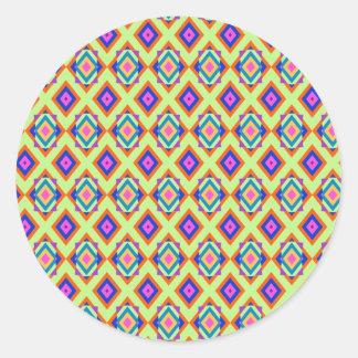 Round Stickers with Fun Diamond Pattern