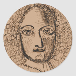 Round Stickers with Sepia Portrait