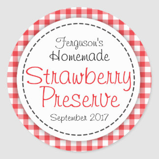 Round strawberry preserve or jam jar food label round sticker