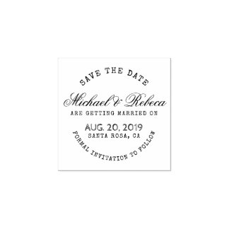Round Typography Rustic Save The Date Wedding Rubber Stamp