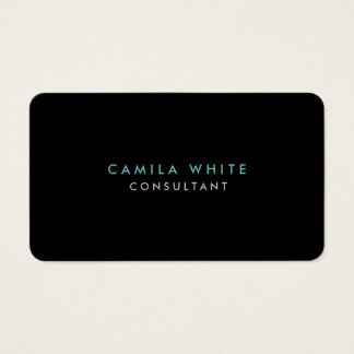 Rounded Corner Black Blue Elegant Professional Business Card