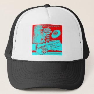 Route 66 1950's UFO Alien Giganticus Headicus Red Trucker Hat