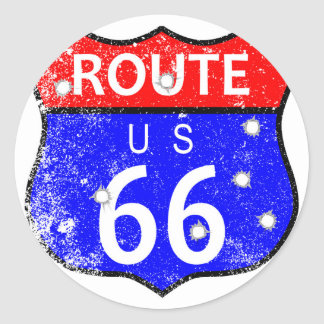 Route 66 Bullet Holes Round Sticker