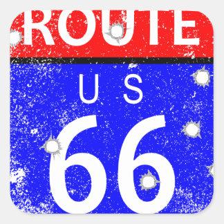 Route 66 Bullet Holes Square Sticker