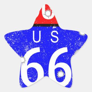 Route 66 Bullet Holes Star Sticker