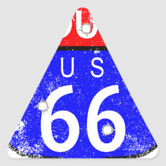 Route 66 Bullet Holes Triangle Sticker
