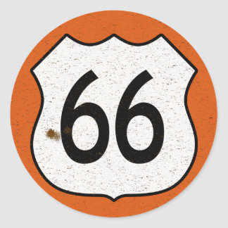 Route 66 Highway Sign Classic Round Sticker