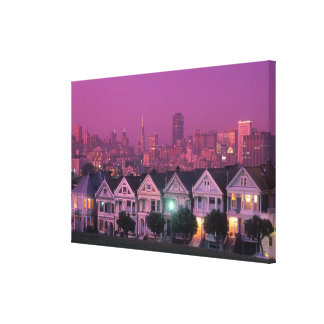 Row houses at sunset in San Francisco, Stretched Canvas Prints