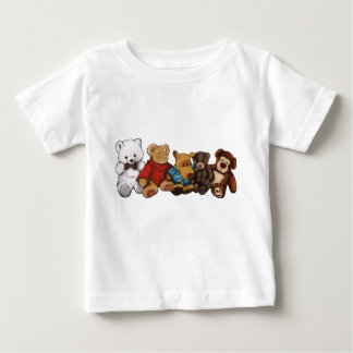 Row of Stuffed Animals and Teddy Bears: Art Baby T-Shirt