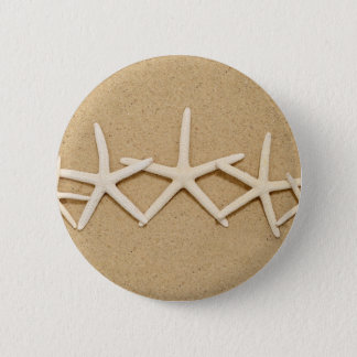 Row of White Starfish 6 Cm Round Badge
