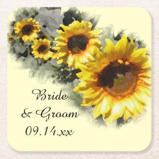 Row of Yellow Sunflowers Garden Wedding Square Paper Coaster