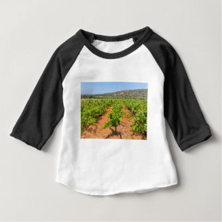 Rows of grape plants with mountain in Portugal.JPG Baby T-Shirt