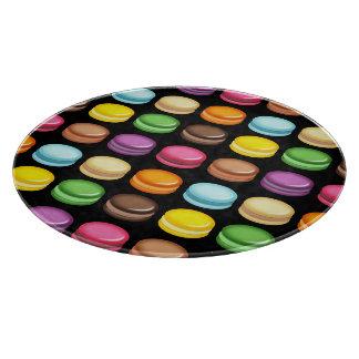 Rows of Macarons on Black Cutting Board