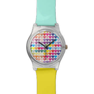 Rows of Rainbow Hearts Wrist Watches