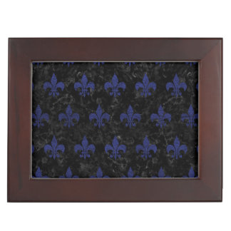 ROYAL1 BLACK MARBLE & BLUE LEATHER (R) KEEPSAKE BOX