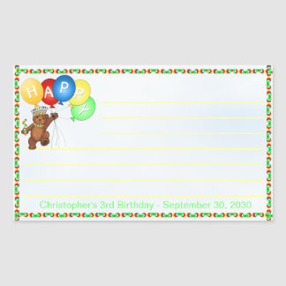 Royal Bear 3rd Birthday Notes Scrapbooking Rectangular Sticker