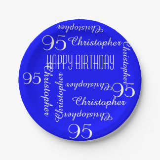 Royal Blue 95th Birthday Party Repeating Names 7 Inch Paper Plate