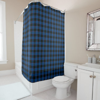 Royal Blue and Black Clan Hume Plaid Pattern Shower Curtain