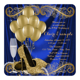 Royal Blue and Gold Birthday Party Satin Glam 13 Cm X 13 Cm Square Invitation Card