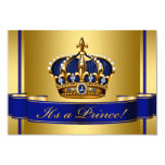 Royal Blue and Gold Crown Prince Baby Shower 9 Cm X 13 Cm Invitation Card