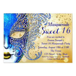 Royal Blue and Gold Sweet 16 Masquerade Party 11 Cm X 16 Cm Invitation Card