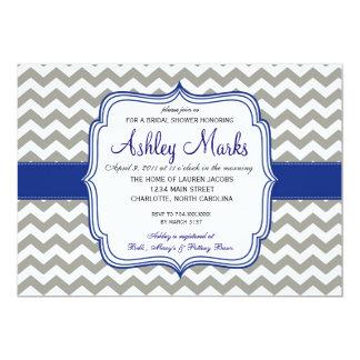 Royal Blue and Grey Chevron Invitaiton 13 Cm X 18 Cm Invitation Card