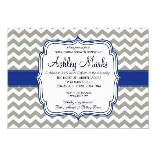 Royal Blue and Grey Chevron Invitaiton Custom Invites