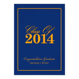 Royal Blue and Orange Class of 2014 Card