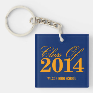 Royal Blue and Orange Class of 2014 Graduation Single-Sided Square Acrylic Key Ring