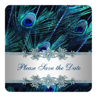 """Royal Blue and Silver Peacock Save the Date 5.25"""" Square Invitation Card"""