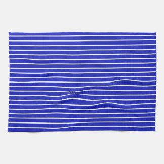 Royal Blue and White Horizontal Stripes Towels