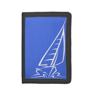 Royal Blue and White Sailing; Sail Boat Trifold Wallet