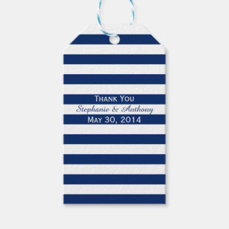Royal Blue and White Striped Wedding Thank You