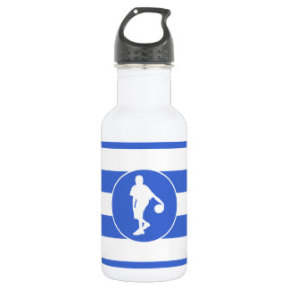 Royal Blue and White Stripes; Basketball 532 Ml Water Bottle