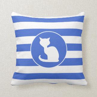 Royal Blue and White Stripes; Cat Cushion