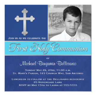Royal Blue, Aqua 1st Holy Communion Photo Invite 2