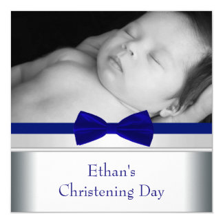 Royal Blue Bow Tie Baby Boy Photo Christening Card