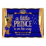 Royal Blue Gold Drapes Prince Baby Shower Ethnic 13 Cm X 18 Cm Invitation Card