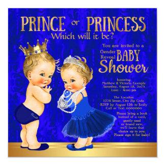 Royal Blue Gold Prince or Princess Gender Reveal 13 Cm X 13 Cm Square Invitation Card