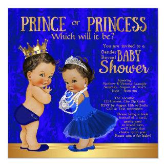 Royal Blue Gold Prince Princess Gender Reveal 13 Cm X 13 Cm Square Invitation Card
