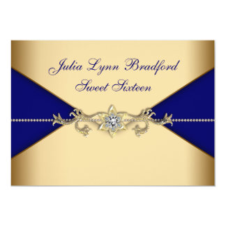Royal Blue Gold Sweet Sixteen Card