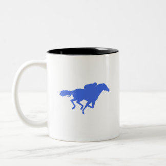 Royal Blue Horse Racing Two-Tone Coffee Mug