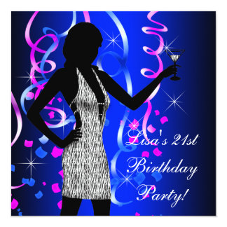 Royal Blue Hot Pink 21st Birthday Party Card